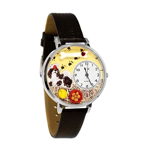 Whimsical Watches Unisex U0130069 Shih-Tzu Black Skin Leather Watch ()
