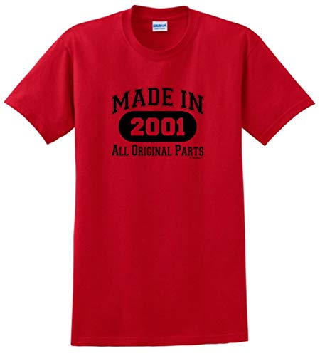 18th Birthday Party Supplies 18th Birthday Gift Made 2001 All Original Parts T-Shirt Medium Red ()