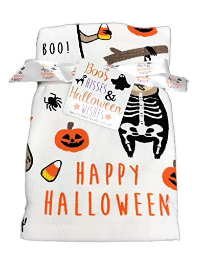 Happy Halloween Sloths in Costumes Set of Two Decorative Kitchen or Bath Guest Hand -