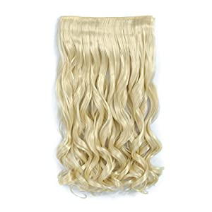 "Clip in Hair Extensions Blonde 20"" Curly Wave 3/4 Full Head One Piece 5clips Synthetic Hair Extension High Temperature Fiber Hairpiece Wavy Hair Gifts for Girl Lad Women 4.6 Oz /Piece (613#)"