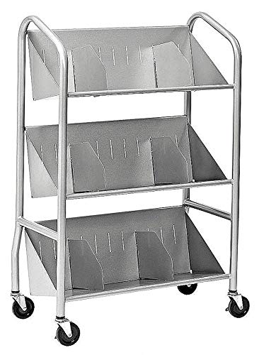 Welded Steel Book Cart with 2 Sloped Shelves, Silver