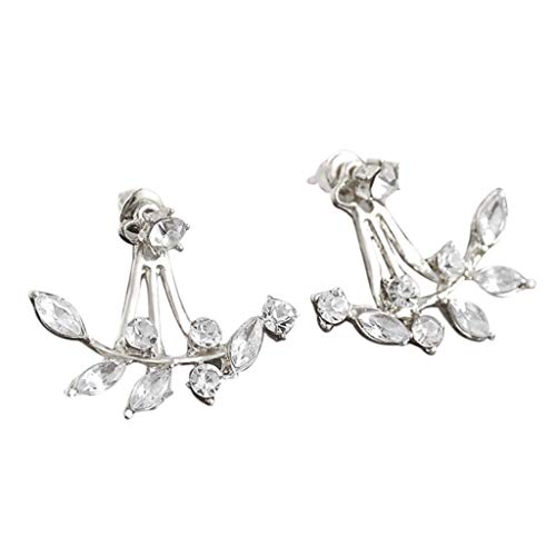 LODDD 1Pair Women Fashion Leaf Crystal Ear Stud Rear Hanging Branch Earrings Jewelry Gift