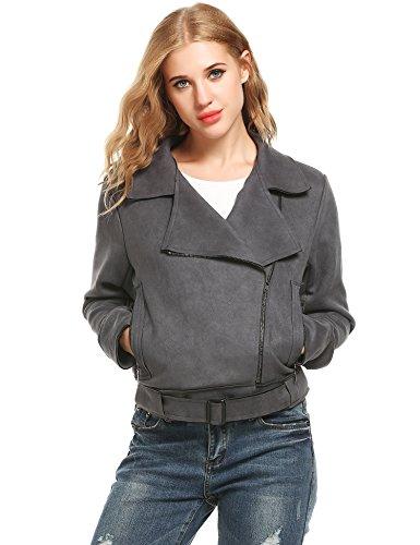 ACEVOG Womens Slim Jacket Matt Velvet Short Coat Zipper Convertible Collar Outwear(Dark Grey, X-Large)