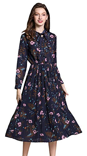 Shineflow Women's Vintage Floral Printed Lotus Sleeves Elastic Waist Pleated Swing Cocktail Party Midi Dress (Blue, S)