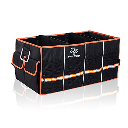 FANTELIN Auto Car Trunk Organizer Foldable Cover Waterproof Non Slip Bottom Cargo Storage Multiple Compartments Collapsible Vehicle for Any Car SUV Mini-van (Black)