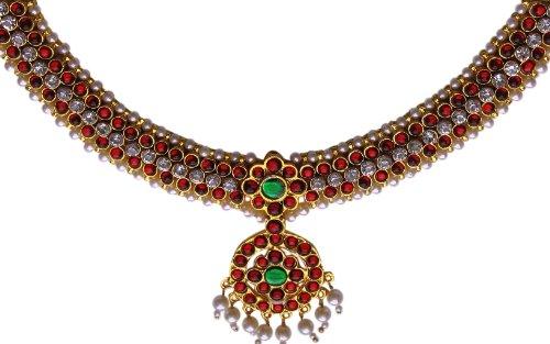Indian Jewelry - Bharatanatyam Temple Jewelry Imitation Temple short necklace with white stones