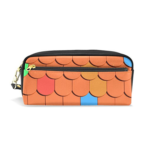 LEISISI Orange Roof School Pencil Bag PU Leather Stationery Pouch Case Women Cosmetic Bag Large Capacity