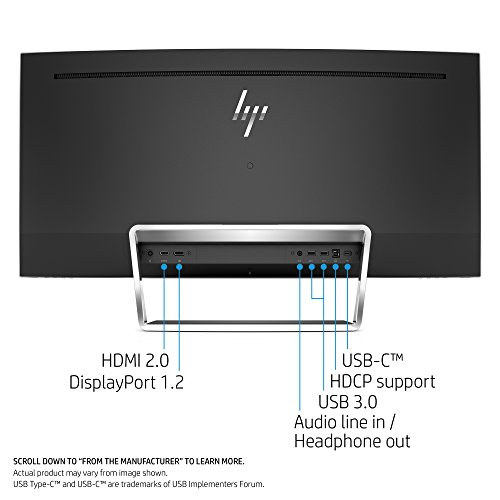 HP ENVY 34-inch Ultra WQHD Curved Monitor with AMD Freesync Technology, Webcam and Audio by Bang & Olufsen (Black/Silver) by HP (Image #2)