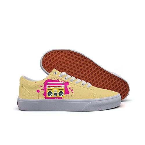 VCERTHDF Classic Radio Rave Splash Design Classic Canvas Shoes Women's ()