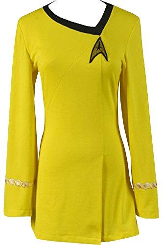 CosplaySky Star Trek Dress Costume The Female Duty Yellow Uniform Large