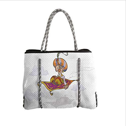 iPrint Neoprene Multipurpose Beach Bag Tote Bags,Arabian,Cartoon Magician Flying on Magic Carpet Sky with Clouds Oriental Persian Fairytale,Multicolor,Women Casual Handbag Tote Bags for $<!--$39.99-->