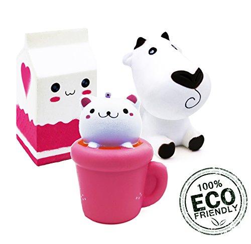 Slow Rising Jumbo Kawaii Squishies Cream Scented Cute 3 PACK Set. Jumbo Kitty Cat and Jumbo Milk plus Medium Cute Cow - Squishy. Stress Relief Kids Toy. Hand Toy, Fun Play