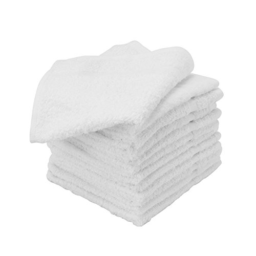 USA_Best_Seller 24 Nice Soft New White 100% Cotton Hotel Washcloths 12x12 Heavy Duty Rental Properties Hospitals Bathroom Dust Cleaning