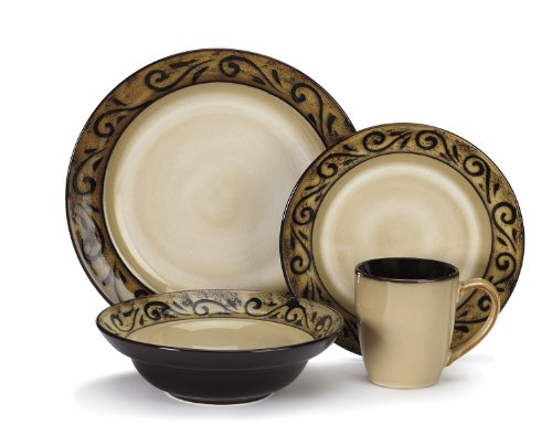 Cuisinart CDST1-S4G5 Stoneware Isere Collection 16-Piece Dinnerware Sets