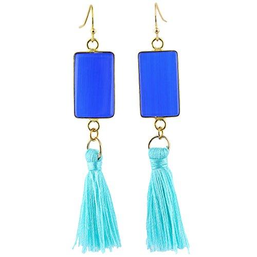 SUNYIK Blue Cat's Eye Stone Oblong Tassel Dangel Earrings for Women Oblong Stone