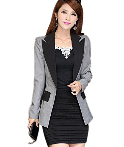 Aro Lora Women's Long Sleeve Color Block Lapel One Button Jacket Blazer Suit US 8-10 Grey ()