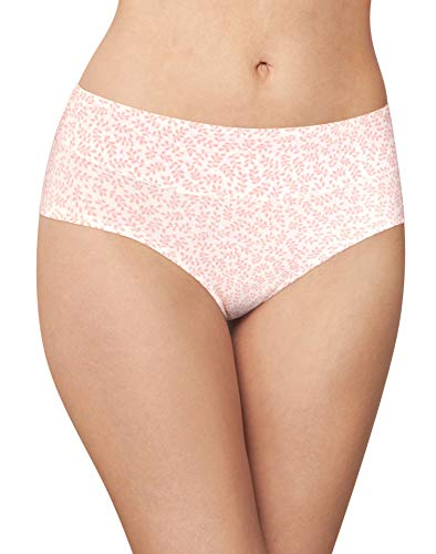 Bali Women's Passion for Comfort Hipster Panty, Gentle Pink Leaf Print, 9