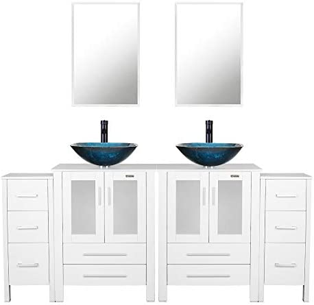 eclife 72 Bathroom Vanity Sink Combo W White Side Cabinet Vanity Turquoise Square Tempered Glass Vessel Sink 1.5 GPM Water Save Faucet Solid Brass Pop Up Drain, With Mirror 2A10 2B02W 2B11W