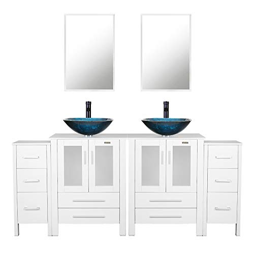eclife 72'' Bathroom Vanity Sink Combo W/White Side Cabinet Vanity Turquoise Square -
