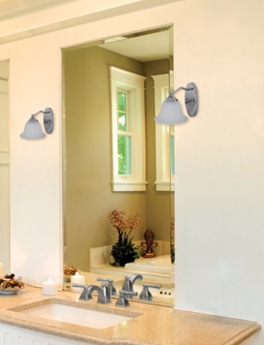 Catalina 18594-000 Chrome Plated 1-Light Vanity Wall Sconce with Frosted Glass, 9-Inch by 6-Inch