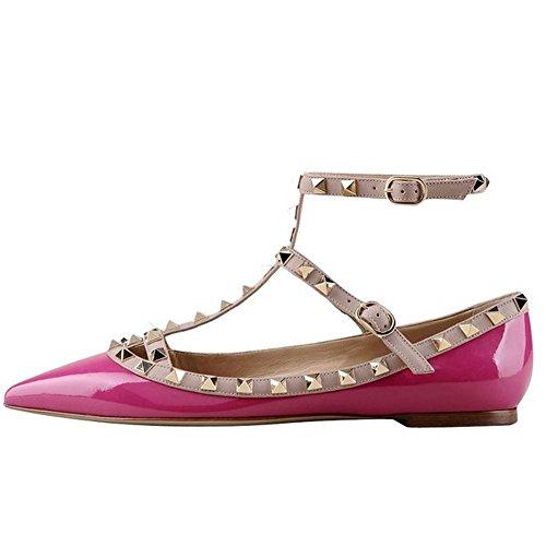 Arc-en-ciel zapatos de las mujeres del dedo del pie en punta hebilla tachonada pisos Rosa