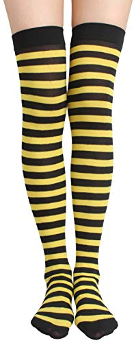 Jasmino Women's Colorful Long Striped Over The Knee High Stocking Socks (Yellow Black) from JASMINO