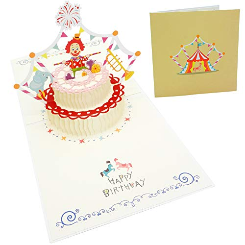 Pop Up Birthday Card, Happy Birthday Cake Card for Kids, Perfect Greeting Card with Circus Clown for Child, Mom, Dad, Sister, Brother, Celebrating Birthday Party Card 4.9 x 4.9 inches Gold
