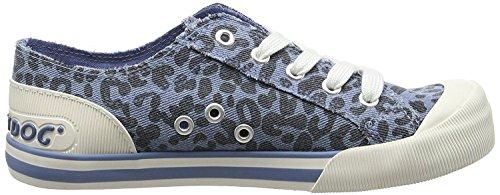 Rocket Dog Jazzin Blu Leopardo Donna Tela Sneaker Scarpe