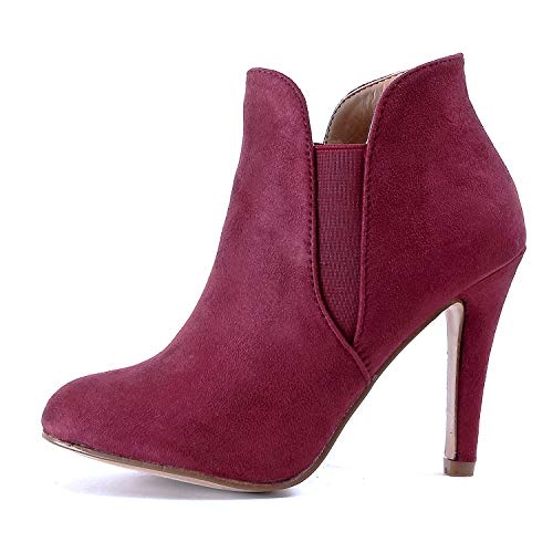 Guilty Heart | Womens Stiletto Platform High Heel Sexy Ankle Bootie Boots (7 M US, Winev1 Suede)