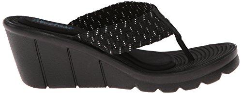 Skechers Cali sandalias de cuña de las mujeres del Paseo marítimo entrelazado Negro/Plateado