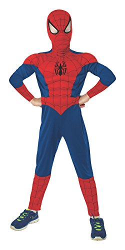 Spider Man Suits For Kids (Rubie's Marvel Ultimate Spider-Man Deluxe Muscle Chest Costume, Child Medium - Medium One Color)