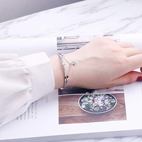 (Unique Women Gift Charm Bracelet Bangle Creative Love Stars Women Girls Models Jewelry Personalized Student Girlfriend (Silver Star)