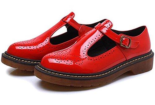 WUIWUIYU Women's Girls' Fashion Buckle Court Shoes Brogues Shoes with Big Size Red sxLZ7m1oC