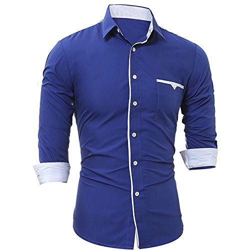 Ed Express Mens Causal Slim Fit Button Down Shirt Long Sleeve Cotton Work Shirts With Pockets Royalblue M