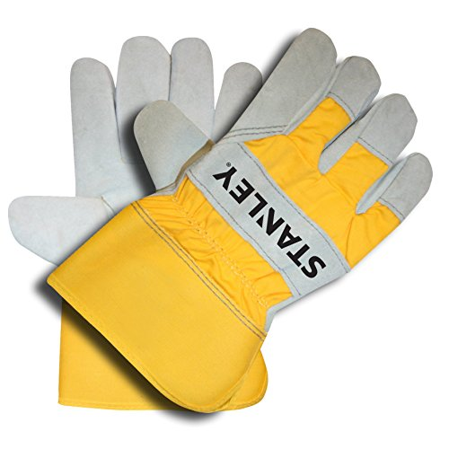 Stanley Select Cowhide spit Leather Palm Work and Safety Gloves - Yellow Canvas Back - Large ()