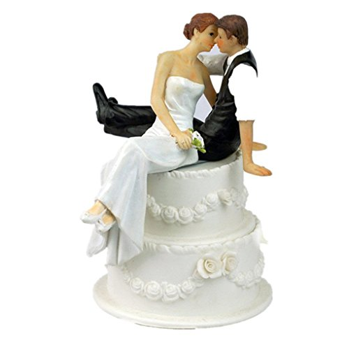 (Zerama Resin Bride and Groom Figurine Romantic Cake Topper Resin Craft Wedding Decoration)