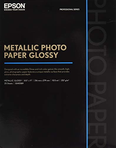 Epson S045589 Professional Series Metallic Photo Paper Glossy, 25 Sheets, 8.5x11 inch