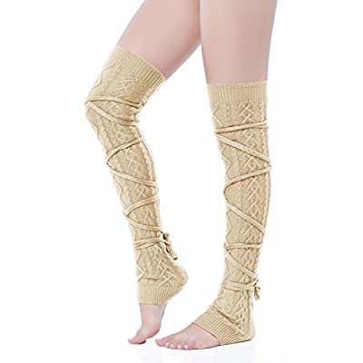 V28 Women Over Knee Cable Knit Ribbed Crochet Long Boot Leg Warmers at Women's Clothing store