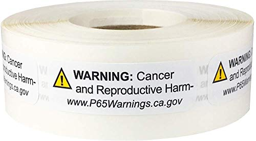 California Proposition 65 Cancer and Reproductive Harm Warning Labels Short Form .5 x 1.5 inch 500 Adhesive Stickers by InStockLabels.com