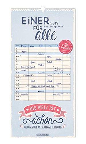 Familienplaner 2019 Einer für alle Kalender – Wandkalender, 31. Mai 2018 3862296016 Wand-Kalender Alben Immerw. Kalender