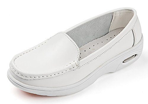 Vivident Genuine Leather Medical Loafers Soft Nurse Shoes Professional Working Women Flats White(868)