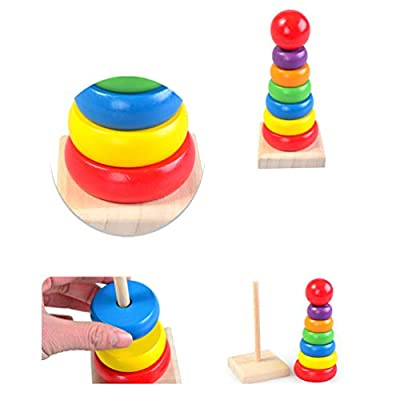 TOYANDONA 3pcs Kids Montessori Toy Kit Wooden Bead Maze Rainbow Stacker Xylophone Preschool Educational Toys for Kids Toddlers: Toys & Games