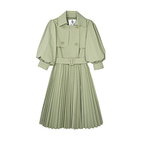 Dabuwawa Swing Double Breasted Wool Trench Coat with Belt Mid-Long Lapel Dresses Outwear Small from Dabuwawa