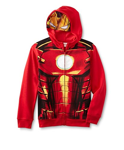 Boys Marvel Iron Man Red Fleece Hoodie with Mask Size XL - Mask Zipper Hoodie For Boys