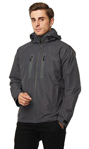 MIER Men's Rain Jackets Waterproof Outdoor Jackets with Hideaway Hood,Front-zip, Graphite, S