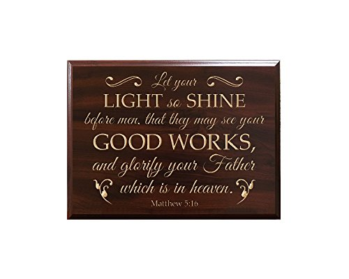 TimberCreekDesign Let your LIGHT so SHINE before men, that they may see your GOOD WORKS, and glorify your Father which is in heaven. Matthew 5:16 Decorative Carved Wood Sign Quote, Faux Cherry