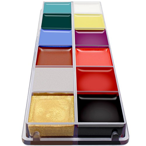 JANELIFE Professional Face Body Paint Oil,12 Flash Colors Face Oil Paint,Washable Makeup Oil Paint,Safe Painting Art Halloween Party Fancy Makeup Body Paint Supplies for Kids & Adults (Paint)