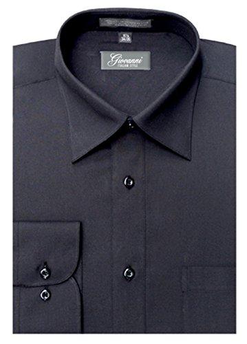 Giovanni CLG1002-17 1-2x34-35 Mens Solid Color Dress Shirt, Black