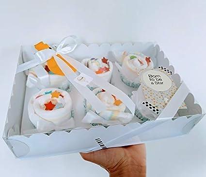 Regalo Original para Recién Nacidos | Caja de Cupcakes hechos con Pañales DODOT | Baby Shower Gift Idea | Obsequio para bautizo | Recuerdo para Invitados | Regalo para Bebé | Color Neutro, UNISEX, par