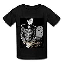 ZCNS fashion kid's Michael Jackson poster T shirt for kids Black
